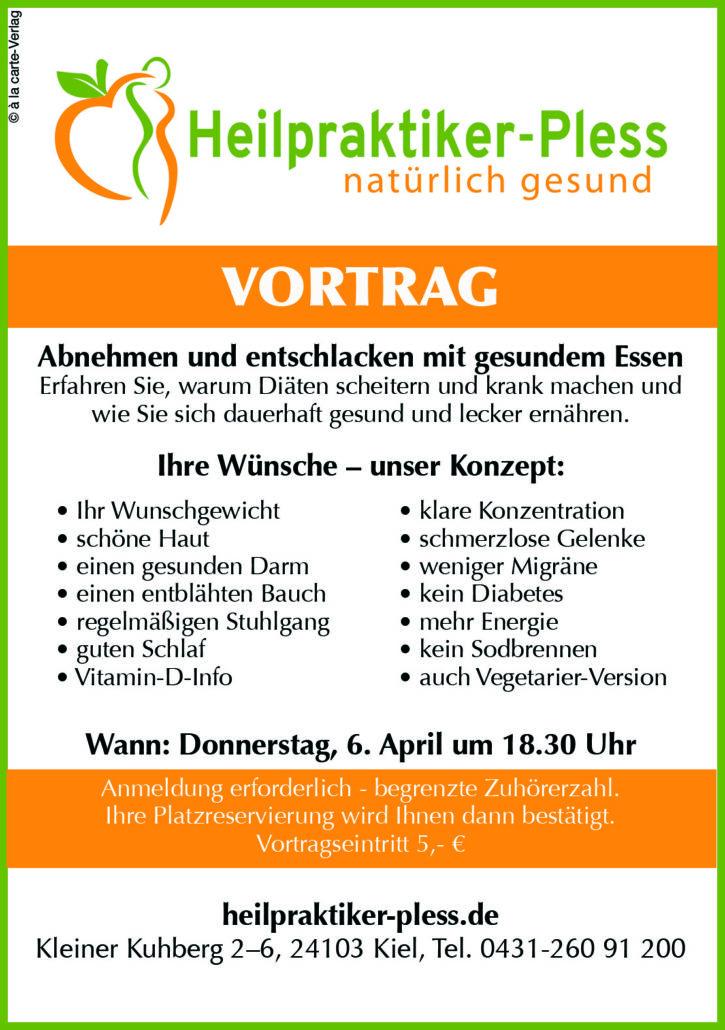 Abnehmen und Entschlacken - Im April ein Seminar in Kiel bei Heilpraktiker Pless